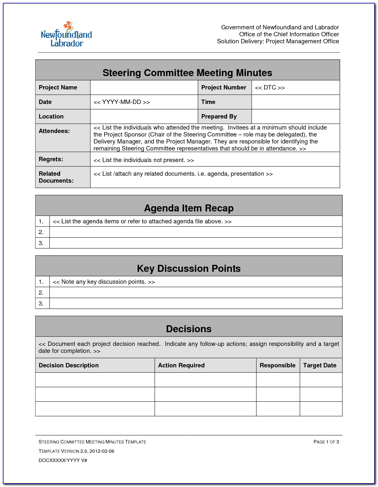 Project Management Meeting Agenda Minutes Template