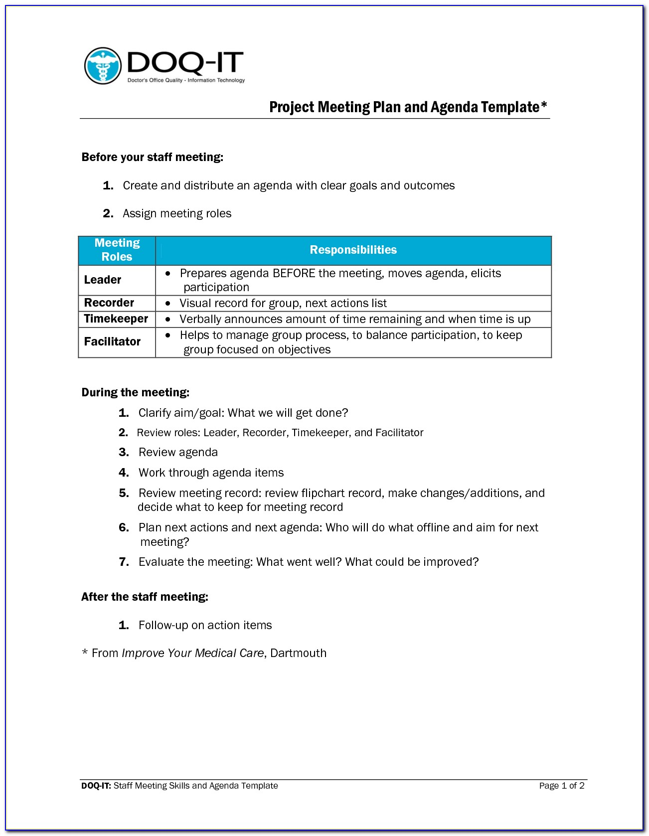 Project Management Status Meeting Agenda Template