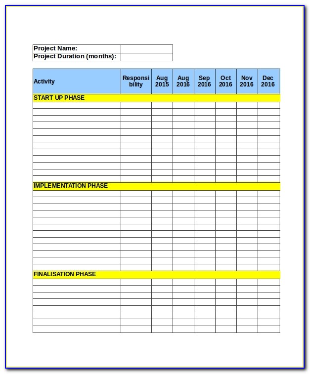 Project Planner Excel Template Free