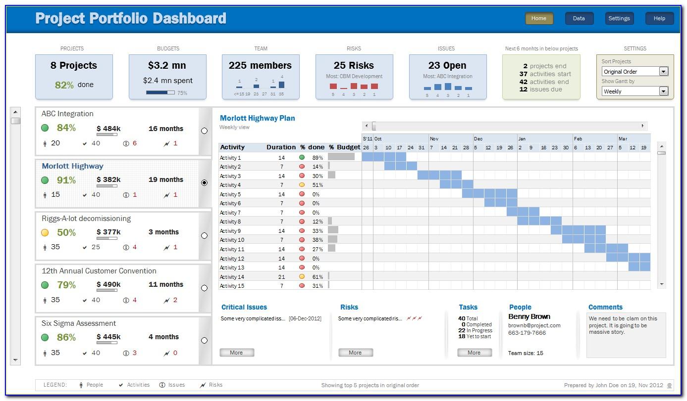 Project Portfolio Dashboard Template Free