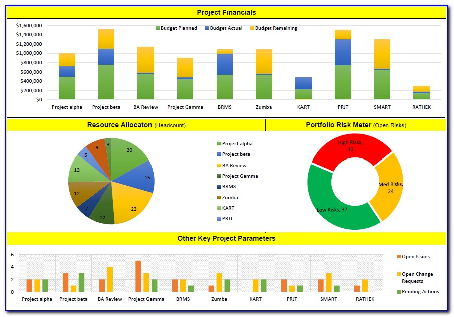 Project Portfolio Dashboard Template Ppt