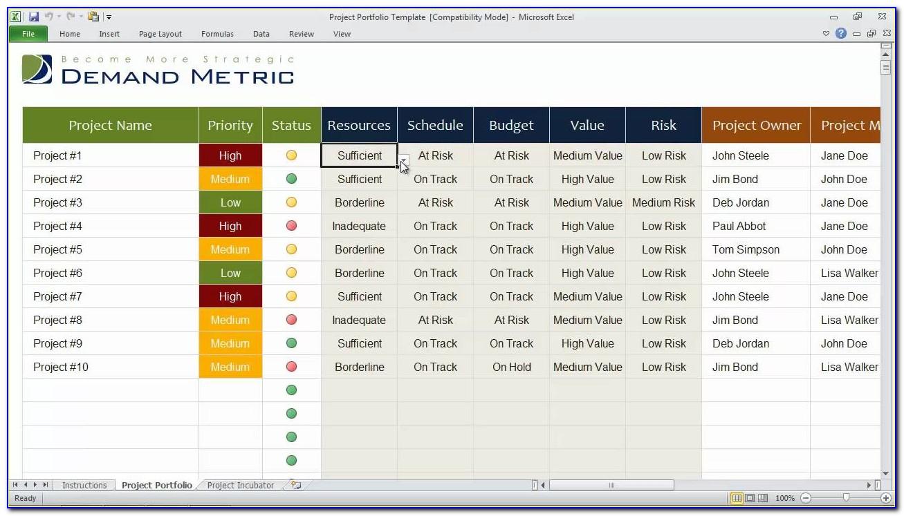 Project Portfolio Management Excel Template Download