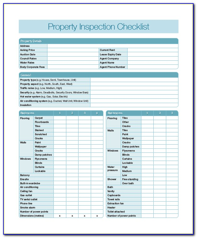 Property Inspection Sheets