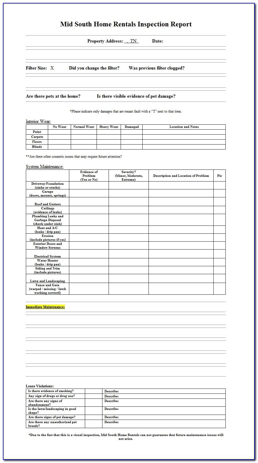 Property Inspection Spreadsheet