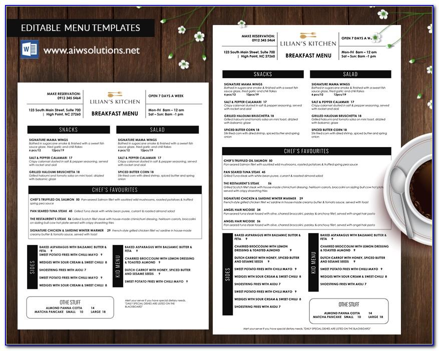 Psd Templates For Restaurant Menu