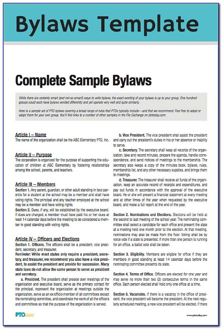 Pta Bylaws Template Nyc