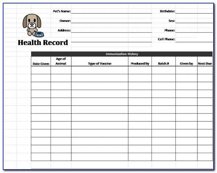 Puppy Shot Record Template