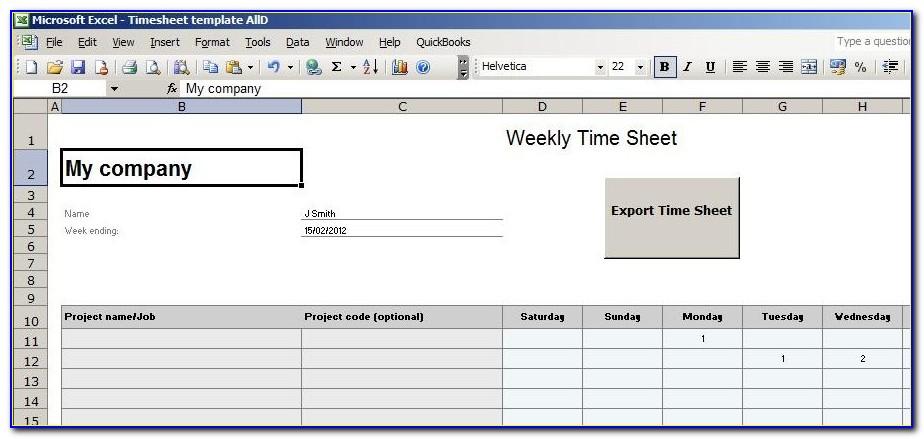Quickbooks Timesheet Format