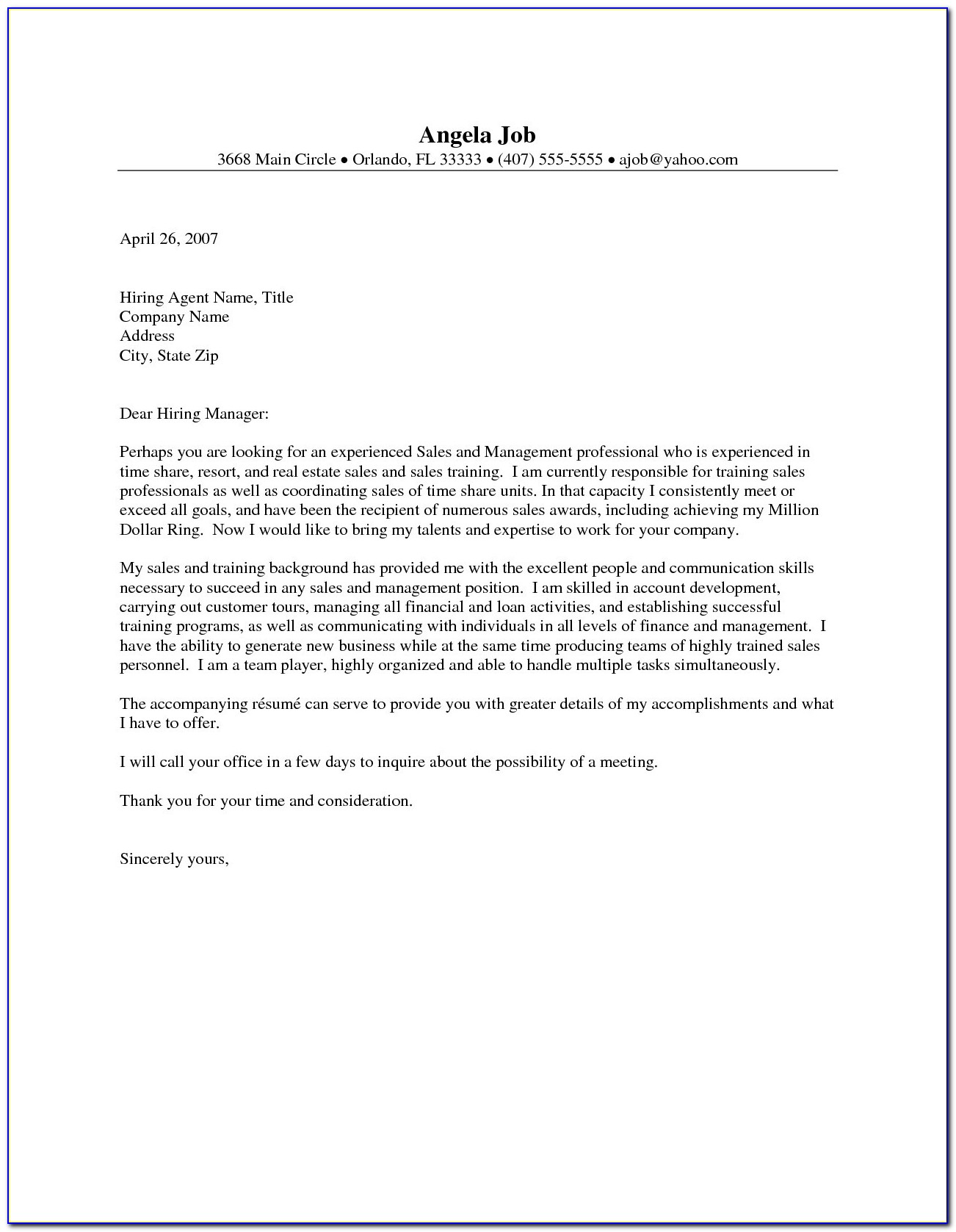 Awesome Real Estate Fer Letter Template