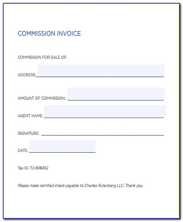 Real Estate Agent Invoice Format