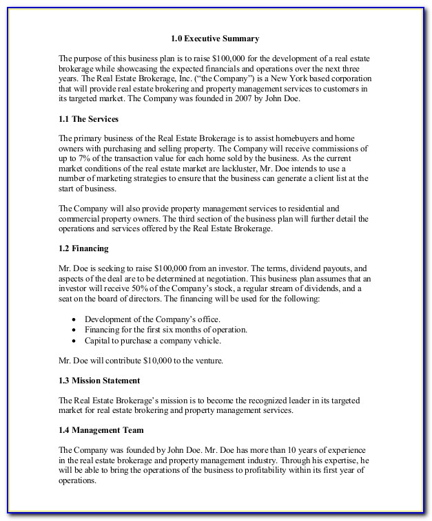 Real Estate Development Company Business Plan Template