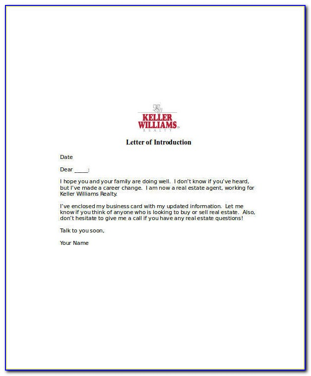 Real Estate Introduction Letter Example