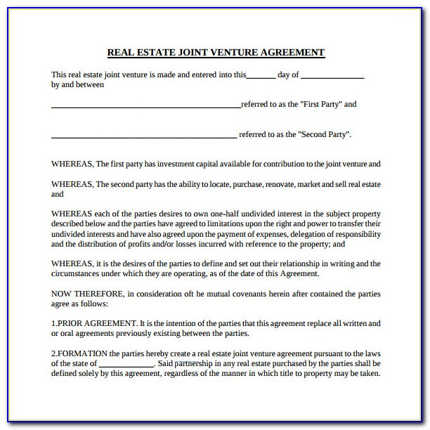 Real Estate Joint Venture Agreement Form