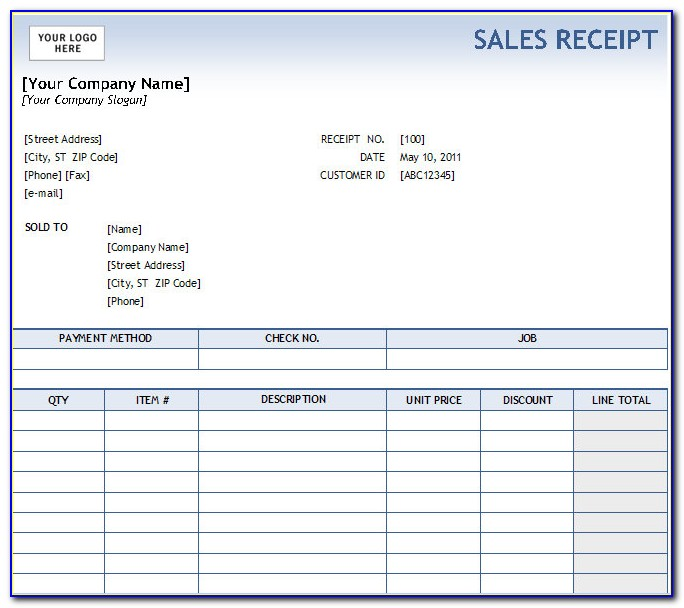 Receipt Template Free Download Excel