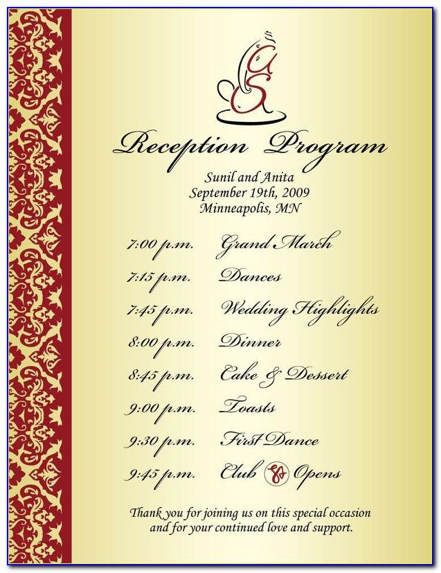 Reception Program Templates