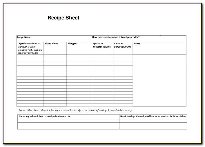 Recipe Blank Templates Free