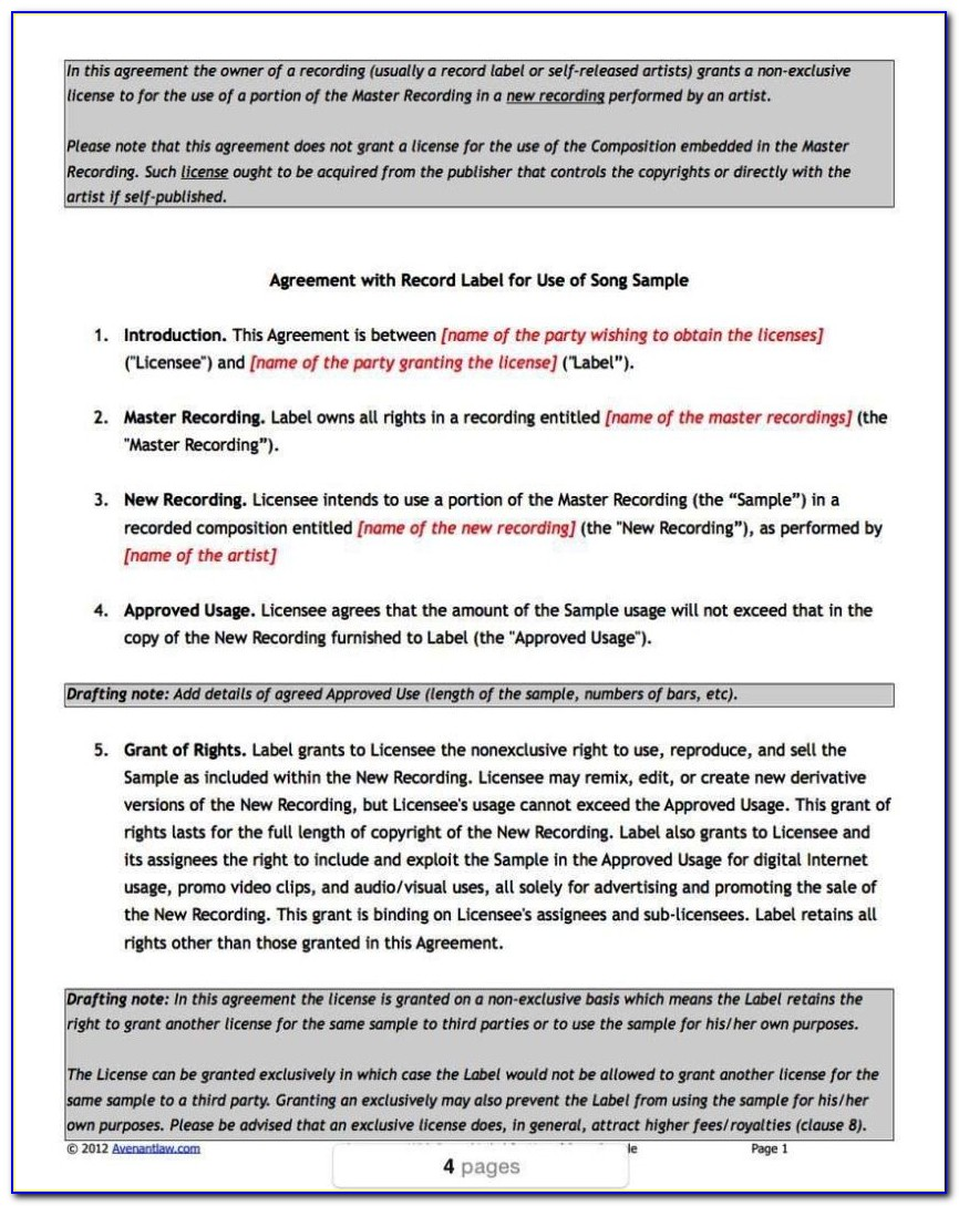 Record Label Contracts Templates