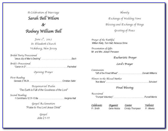 Religious Wedding Program Template
