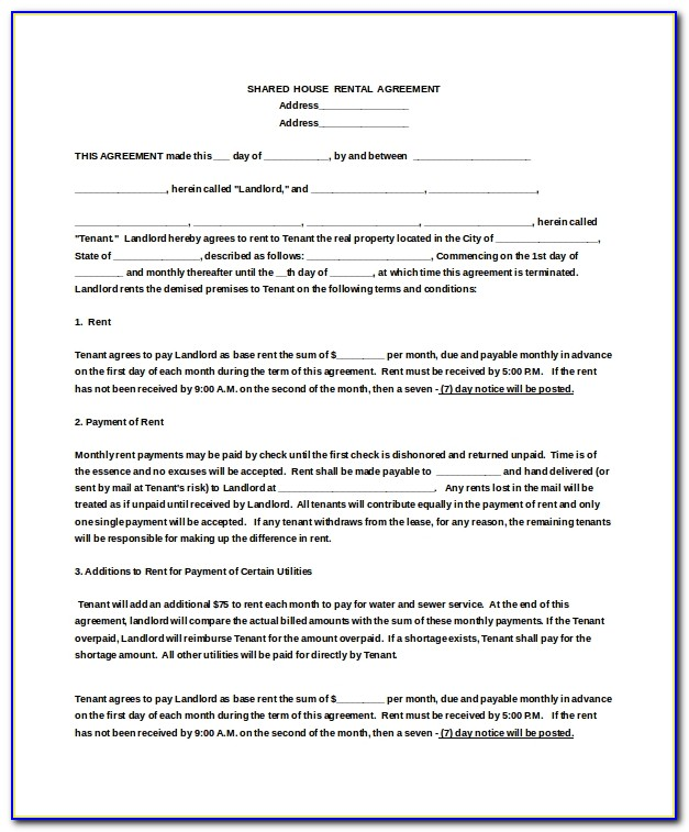 Rental House Contract Template