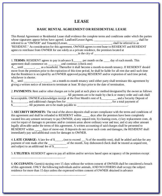 Rental Lease Template Ontario