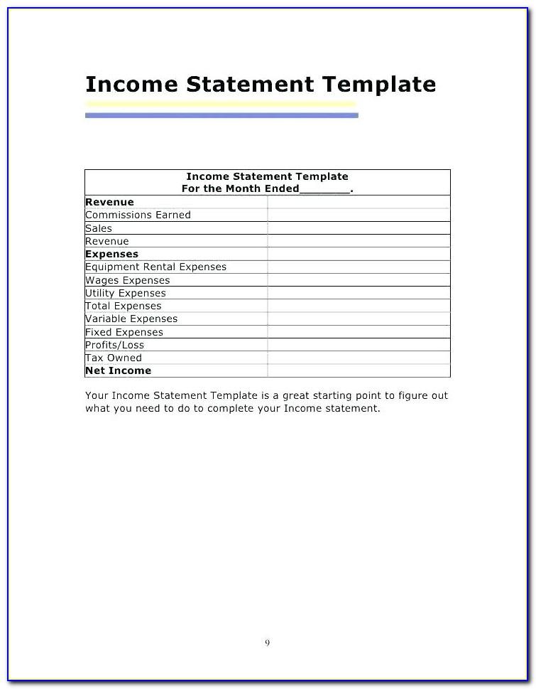 Rental Property Statement Template