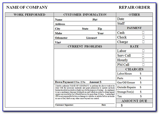 Repair Shop Invoice Template Free