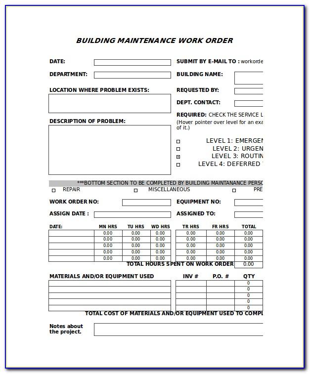 Repair Work Order Forms