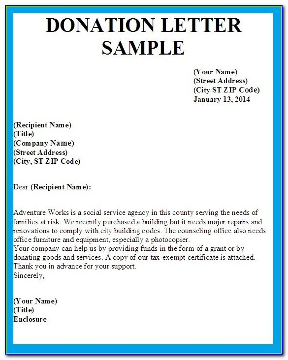 Request Letter For Donation Template