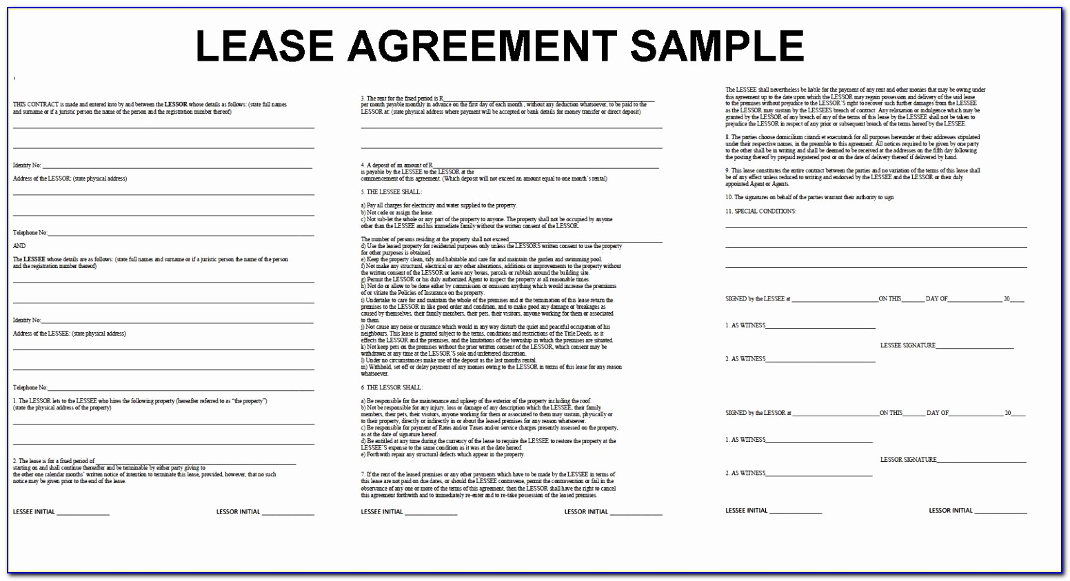 Lease Agreement Format Agipeadosencolombia Printable Residential Tenancy Agreement Template Word Inspirational Doc Xls Letter Templates Raioe