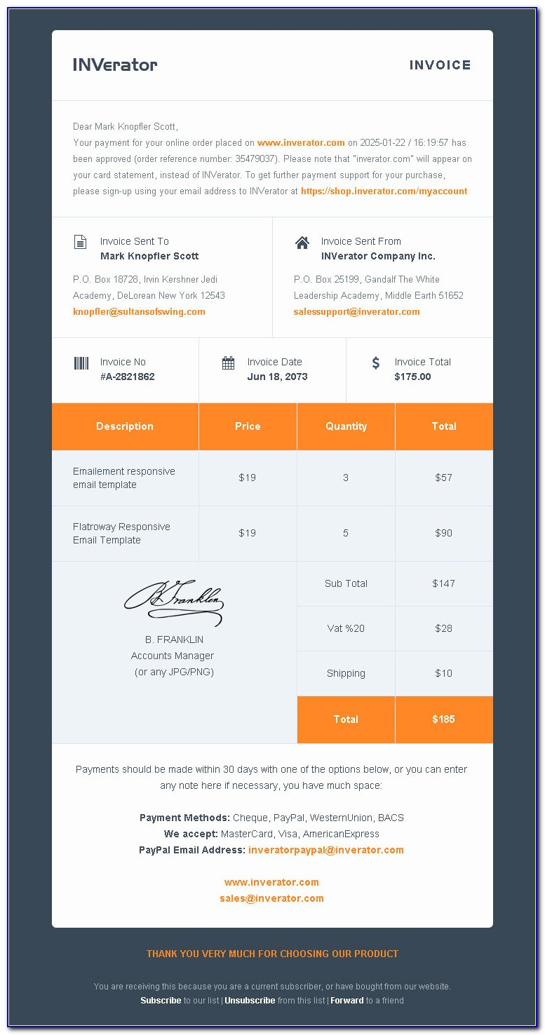 Responsive Invoice Email Template Free