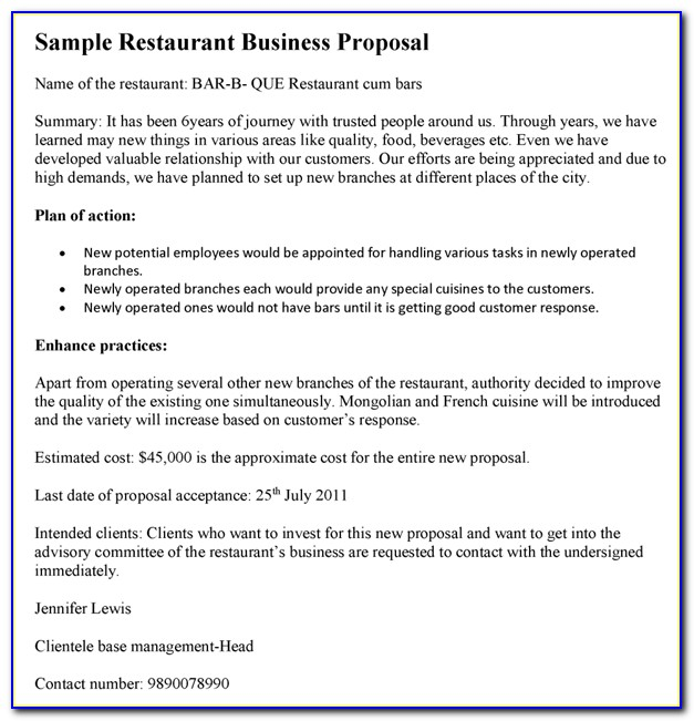Restaurant Business Proposal Examples