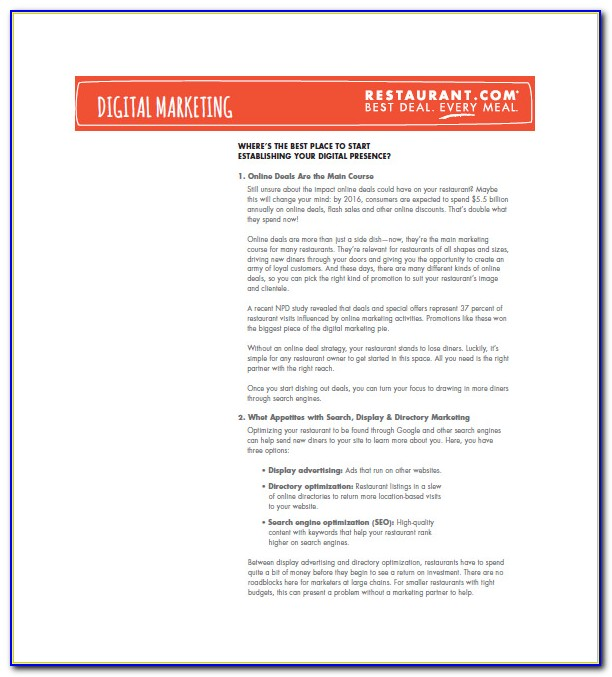 Restaurant Marketing Plan Template Pdf