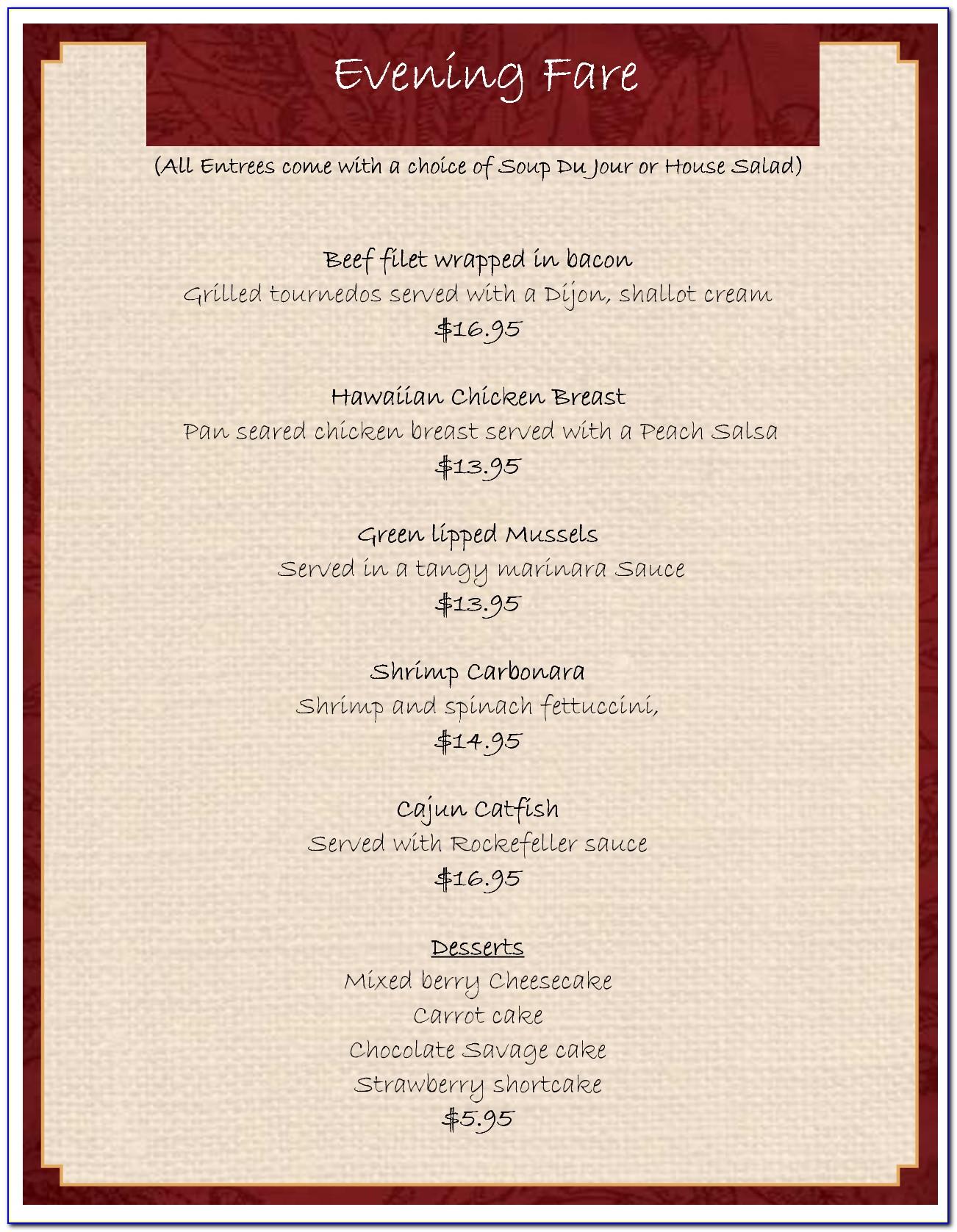 Retro Diner Menu Template Free