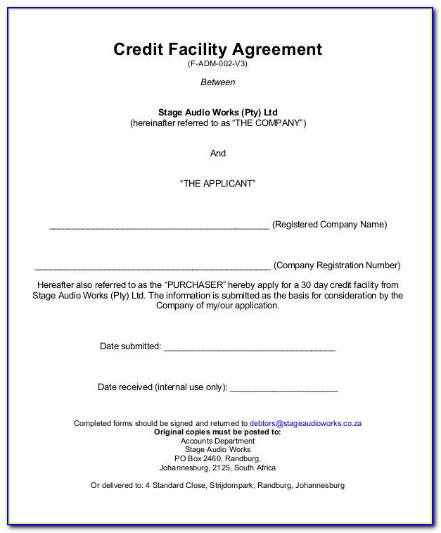 Revolving Credit Agreement Template