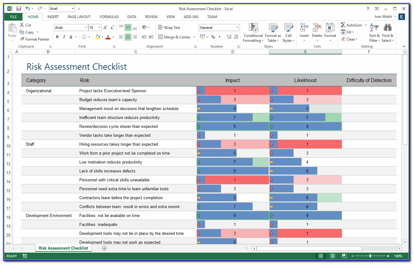Risk Management Matrix Template Excel