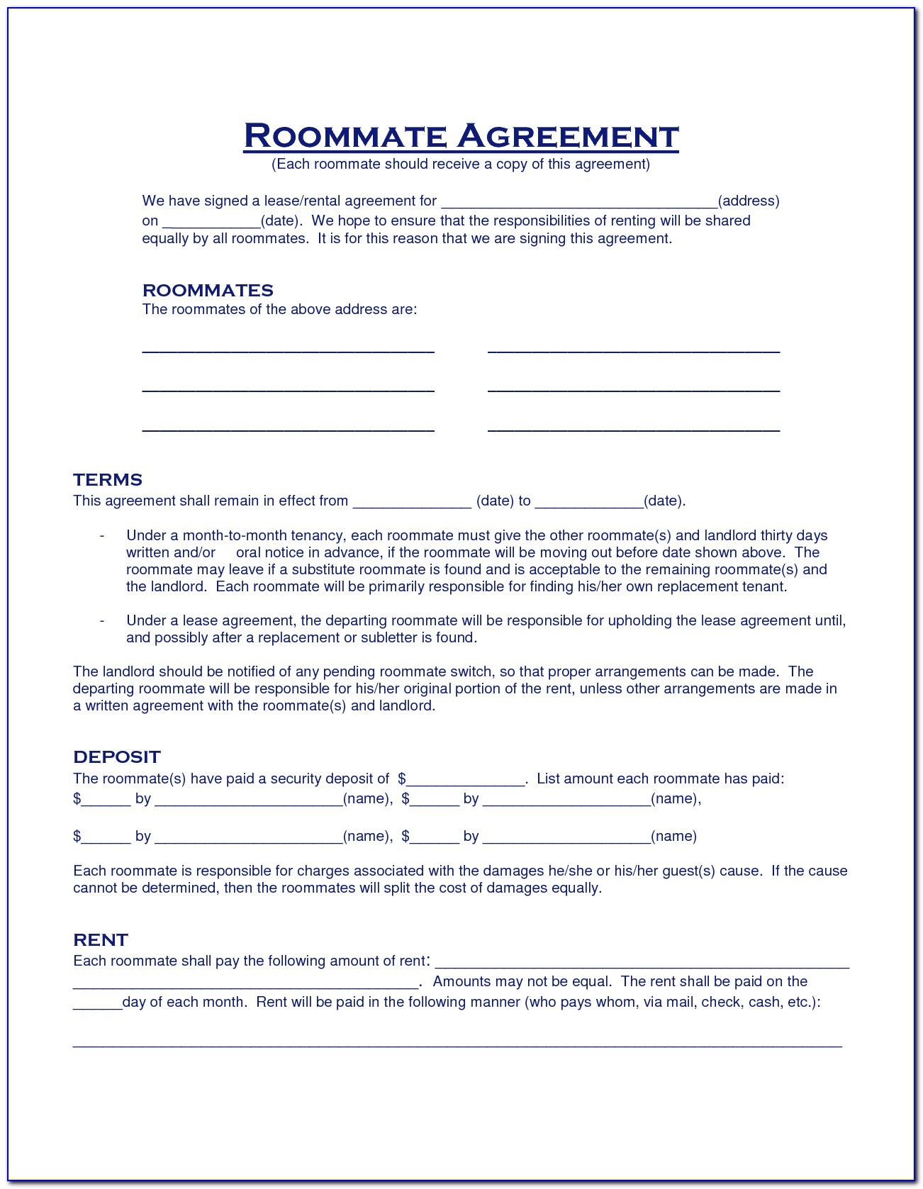 Roommate Rental Agreement Contract