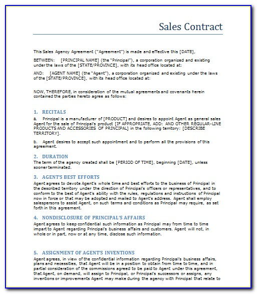 Sales And Service Contract Templates