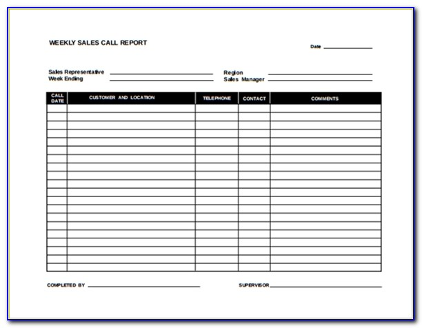 Sales Call Report Template Microsoft Word