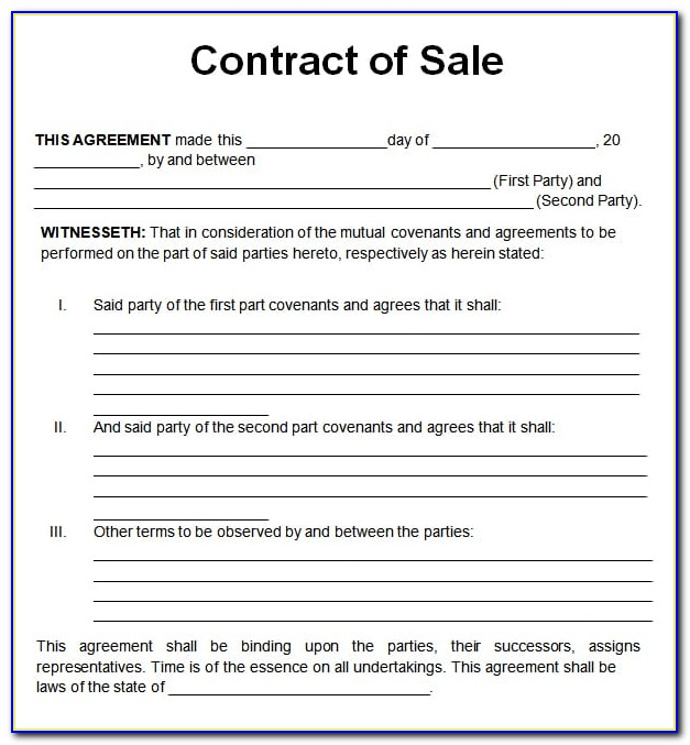Sales Contract Templates Free