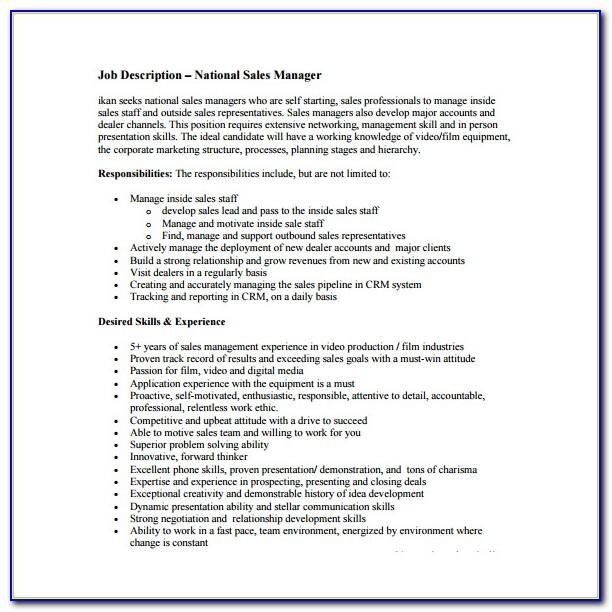 Sales Executive Job Description Cv