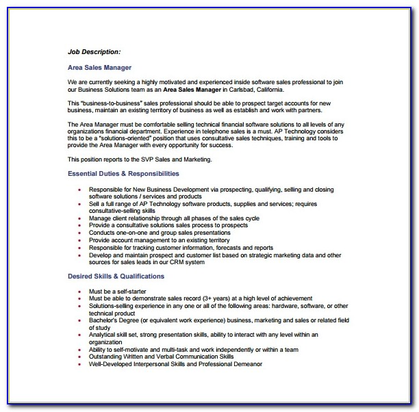 Sales Executive Job Responsibilities For Resume