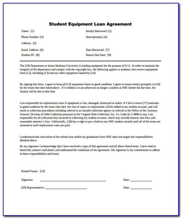 Sample Equipment Loan Agreement Template