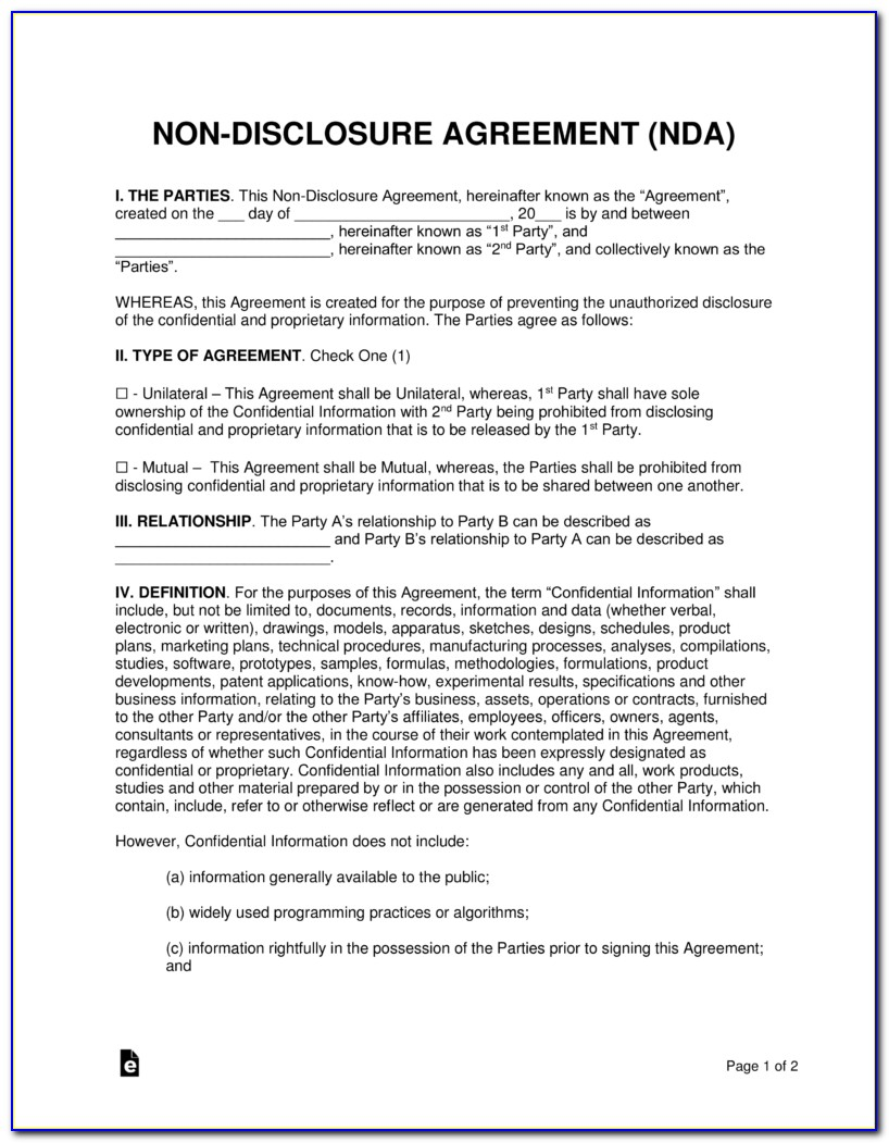 Sample Non Disclosure Agreement Template (nda) Confidentiality Agreement Template