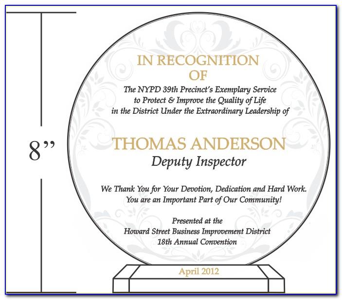 Sample Plaque Of Appreciation Template
