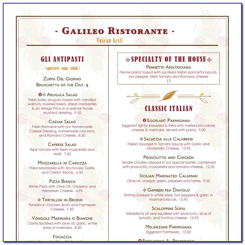 Sample Restaurant Menu Layout