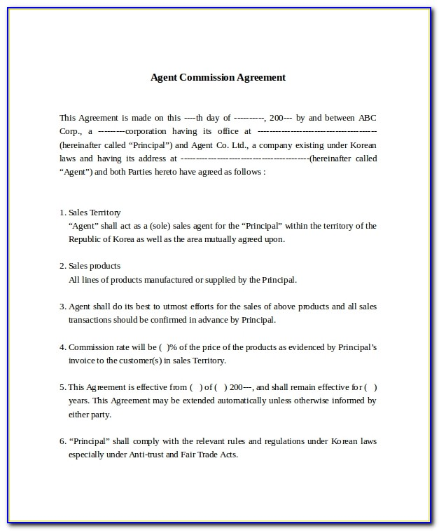 Sample Sales Commission Agreement Template