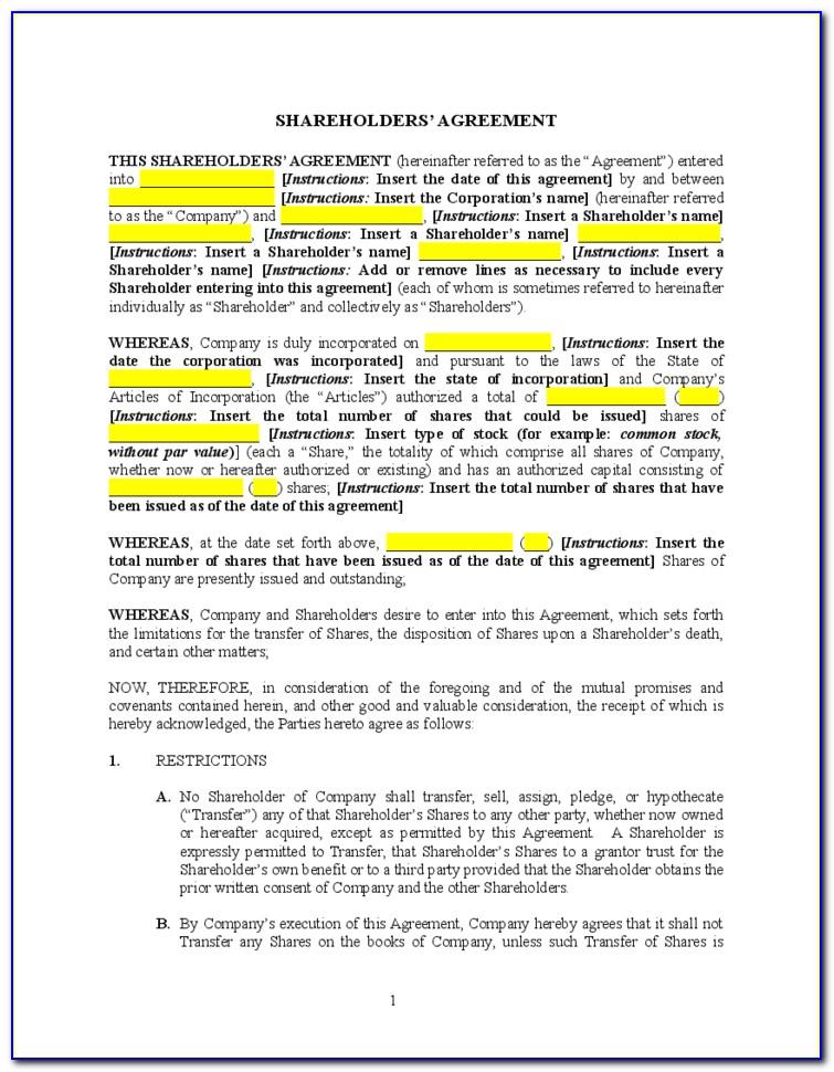 Sample Shareholders Agreement India