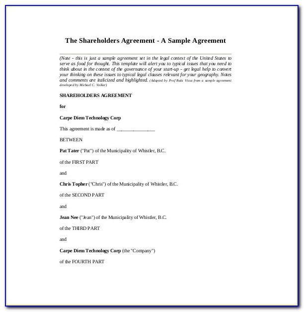 Sample Shareholders Agreement New York