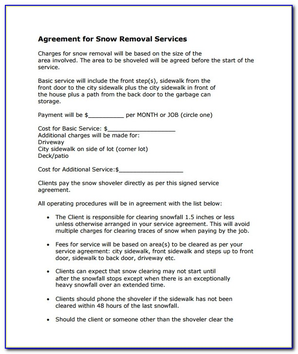 Sample Snow Removal Contract Forms