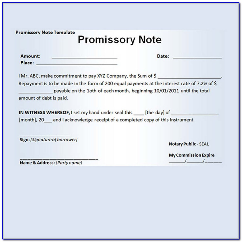 Sample Template Of Promissory Note
